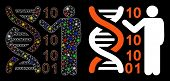 Glossy Mesh Dna Code Report Icon With Lightspot Effect. Abstract Illuminated Model Of Dna Code Repor poster