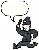 stock photo of truncheon  - cartoon british policeman chasing - JPG