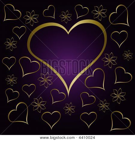 Purple Valentines Hearts Illustration