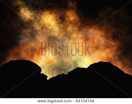 Volcanic eruption on island at sunset