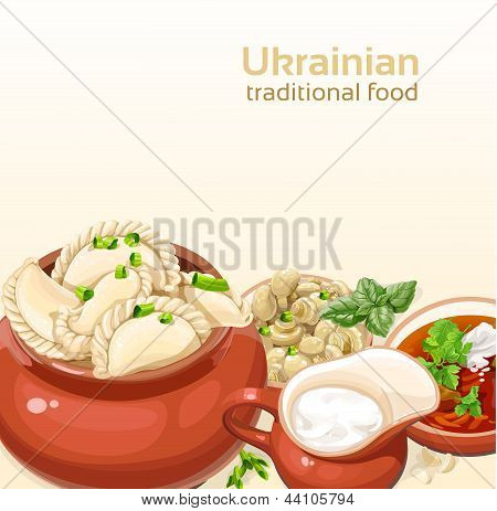 Ukrainian traditional food background with dumplings and soup for your design