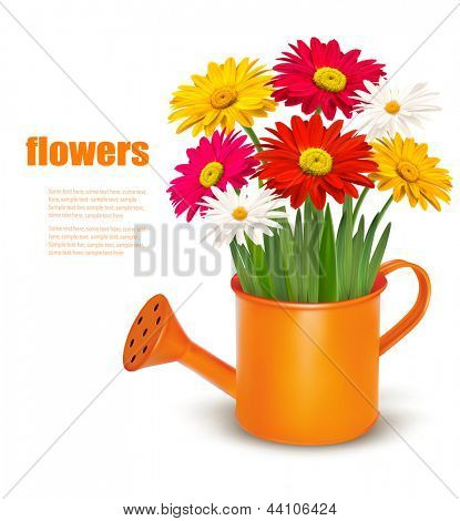 Fresh summer flowers in orange watering can. Vector illustration.