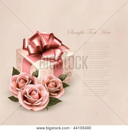 Urlaub retro Hintergrund mit rosa Rosen und Geschenkbox. Vektor-illustration