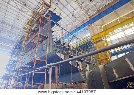 Ship building shoot  inside of shipyard