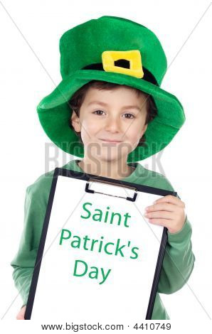Child Whit Hat Of Saint Patrick's