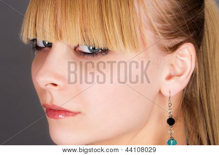 girl with beautiful bangs