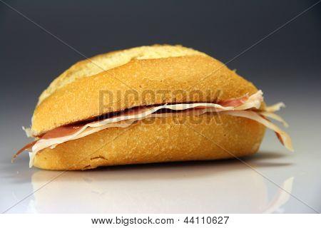 Sandwich Spain Typical Bread With Serrano Ham