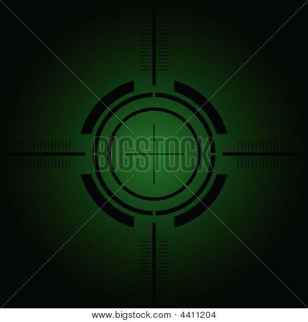 Gun Sight Over Green Gradient