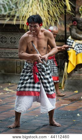 Traditional Ritual Kris Dance Show On Bali