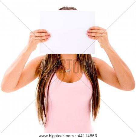 Woman covering her face with a banner - isolated over white