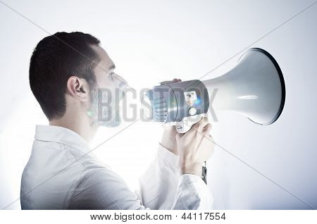 Researcher and Megaphone