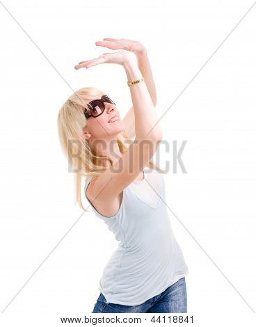 woman is holding something abstract above her head