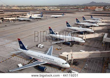 Us Airways Aircraft At Phoenix Sky Harbor Airport