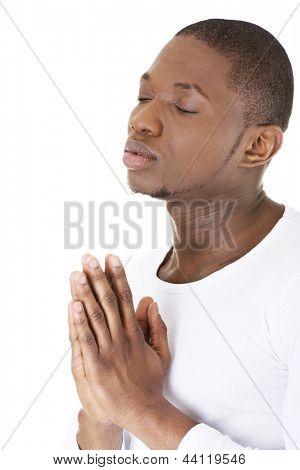 Man Praying, isolated on white