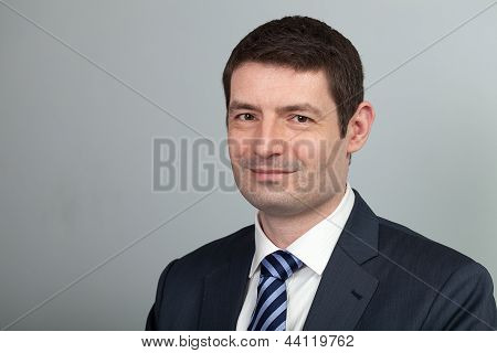 Smiling Businessman In Suit And Tie