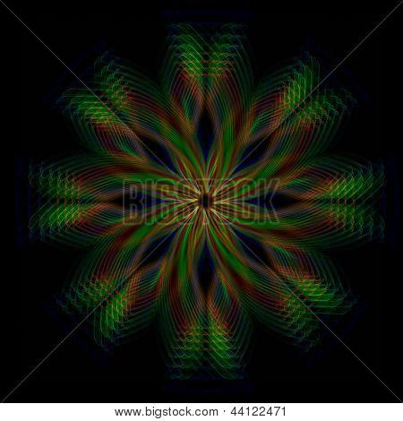Shining Green Flower, Rainbow Lights In Circles