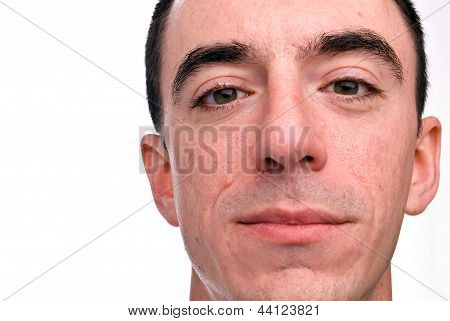 Caucasian Male Headshot - Extreme Closeup
