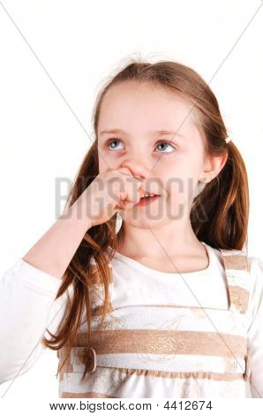 Girl With Finger In Nose.