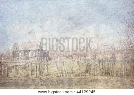 texture of the old paper with a sketch of the old village