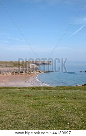 Pembrokeshire Beach With Anonymous People