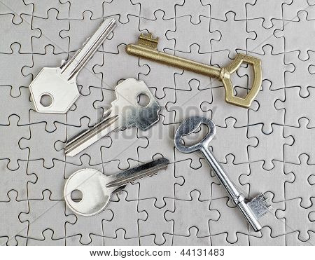 Keys Of Different Types Of Puzzles On A Close-up Of Gold And Silver.