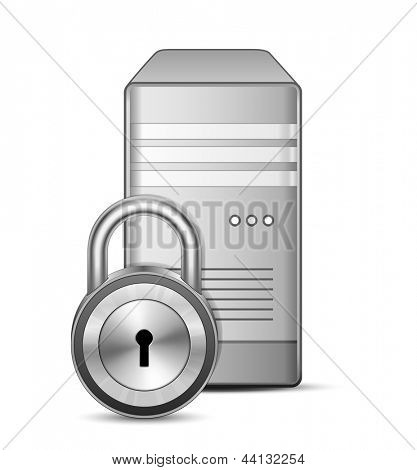 Protected Sever. IT security concept. Server and padlock