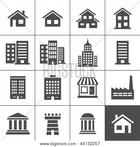 Building Icons Set. Vector illustration. Simplus series