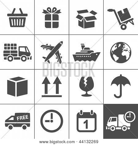 Logistic & delivery icons. Vector illustration. Simplus series