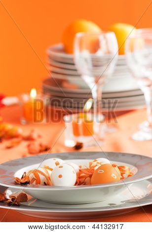 Easter Table Setting In Orange Tones