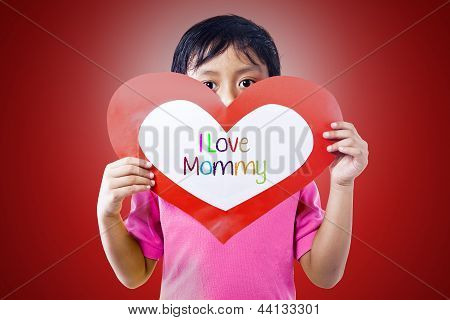 Boy Give Love Card To Mom