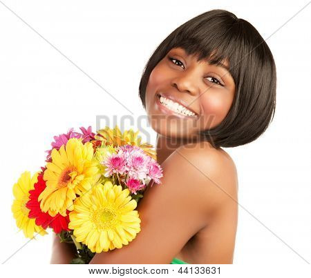 Smiling black girl with great beautiful bouquet isolated on white background, spring holiday, happiness concept