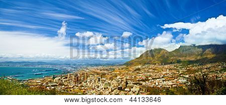Beautiful coastal city landscape, Capetown, South Africa, high mountains, holiday and vacation concept