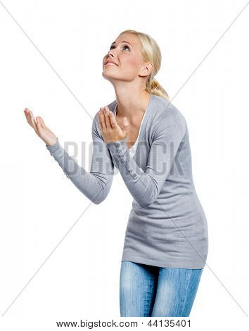 Woman praying about something, isolated on white