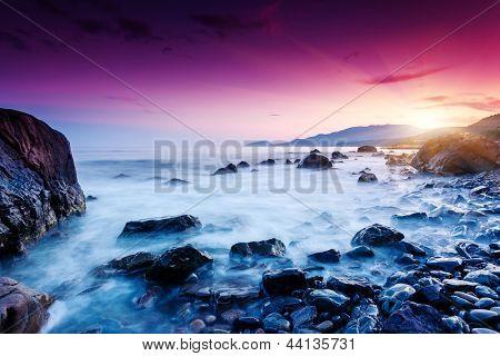 Majestic summer sunset over the sea. Dramatic sky. Crimea, Ukraine, Europe. Beauty world.