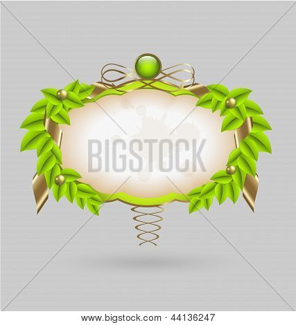 Fresh leaves wreath vector