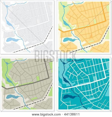 Set of 4 abstract maps.