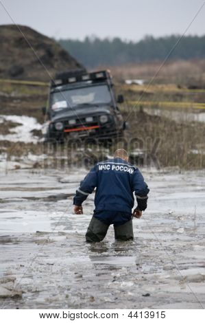 Russian Rescuer In Water