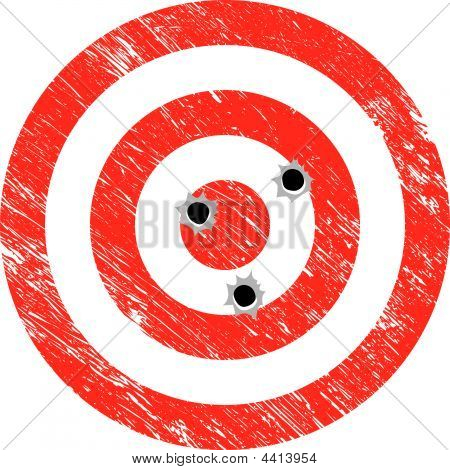 Grunge Target With Bullet Holes