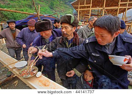 The ritual began building a house. Guizhou China, April 16 2010.