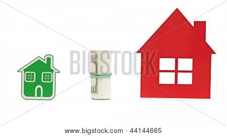 two small house and dollar bills. Business exchange with money and house
