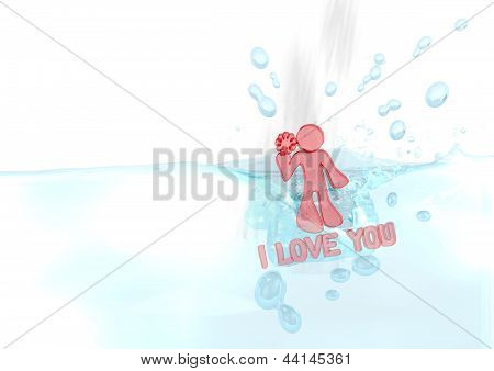 3d render of a isolated I love you icon fallen into water