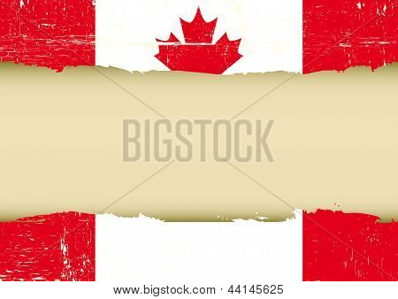 Canadian scratched flag. A canadian flag with a large frame for your message