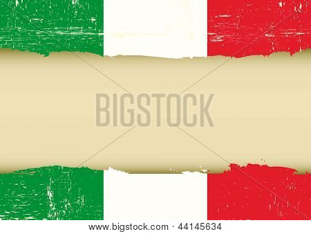 Italian scratched flag. An italian flag with a large frame for your message