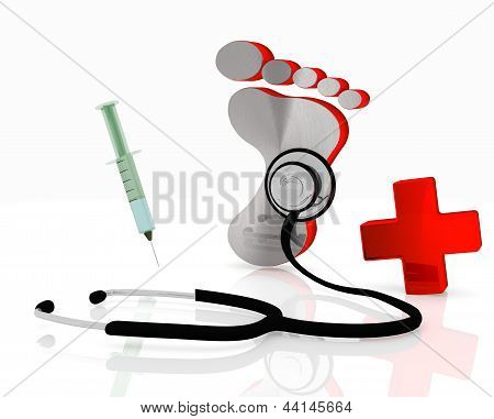 footprint symbol with stethoscope and injection