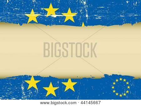 European scratched flag. An european flag with a large frame for your message