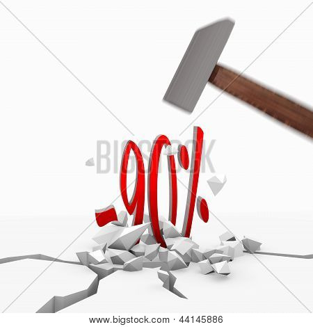 3d render of a isolated discount icon smashed with a hammer