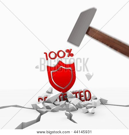 3d render of a isolated protected symbol smashed with a hammer