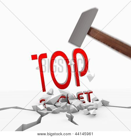 3d render of a powerful top secret symbol smashed with a hammer