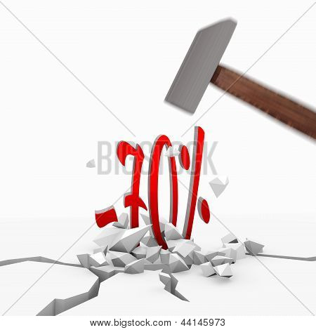 3d render of a powerful discount symbol smashed with a hammer