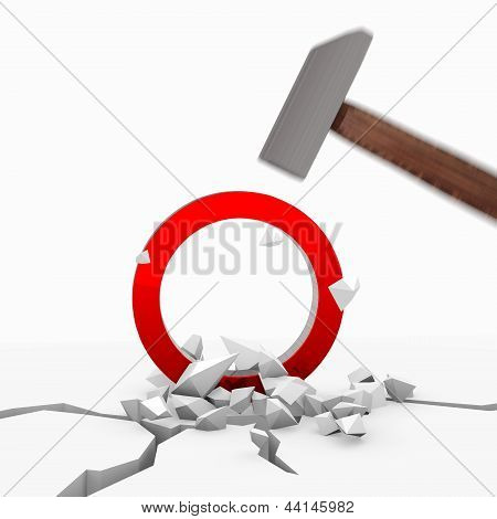 Illustration of a strong circle symbol smashed with a hammer